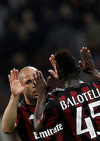 Calcio, Serie A: Milan vs Juventus. Milano, stadio San Siro, 9 aprile 2016. <br /> AC Milan's Alex, left, celebrates with teammate Mario Balotelli after scoring during the Italian Serie A football match between AC Milan and Juventus at Milan's San Siro stadium, 9 April 2016.<br /> UPDATE IMAGES PRESS/Isabella Bonotto