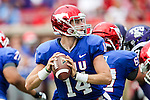 Southern Methodist Mustangs quarterback Garrett Krstich (14) in action during the game between the TCU Horned Frogs and the SMU Mustangs at the Gerald J. Ford Stadium in Fort Worth, Texas.  TCU leads SMU 28 to 0 at half.