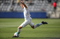 LOS ANGELES, CA - APRIL 17: Ben Sweat #22 of Austin FC sends a ball downfield during a game between Austin FC and Los Angeles FC at Banc of California Stadium on April 17, 2021 in Los Angeles, California.