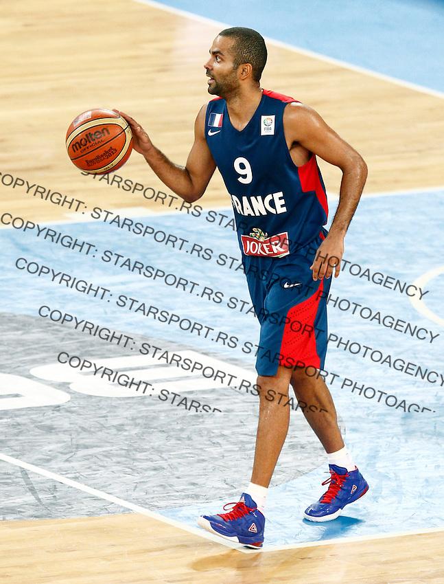 "France`s  Tony Parker in action during European basketball championship ""Eurobasket 2013"" semifinal basketball game between Spain and France in Stozice Arena in Ljubljana, Slovenia, on September 20. 2013. (credit: Pedja Milosavljevic  / thepedja@gmail.com / +381641260959)"