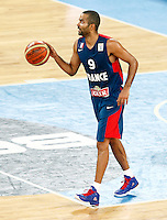 "France`s  Tony Parker in action during European basketball championship ""Eurobasket 2013"" semifinal basketball game between Spain and France in Stozice Arena in Ljubljana, Slovenia, on September 20. 2013. (credit: Pedja Milosavljevic  / thepedja@gmail.com / +381641260959)"