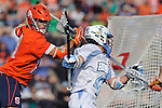 Baltimore, MD - March 17: Attackmen Zach Palmer #45 Hopkins drive to the cage during the Syracuse v Johns Hopkins mens lacrosse game at  Homewood Field on March 17, 2012 in Baltimore, MD.(Ryan Lasek/Eclipse Sportswire)