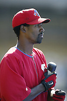 Doug Glanville of the Philadelphia Phillies before a 2002 MLB season game against the Los Angeles Dodgers at Dodger Stadium, in Los Angeles, California. (Larry Goren/Four Seam Images)