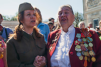 Moscow, Russia, 09/05/2013..Russian World War Two veterans sing songs with well-wishers in Gorky Park during the country's annual Victory Day celebrations.