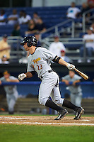 West Virginia Black Bears designated hitter Daniel Arribas (23) at bat during a game against the Batavia Muckdogs on August 31, 2015 at Dwyer Stadium in Batavia, New York.  Batavia defeated West Virginia 5-4.  (Mike Janes/Four Seam Images)