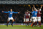 Bilel Mohsni celebrates after poking the ball in the net but the ARbroath players claim that Andy Little was offside