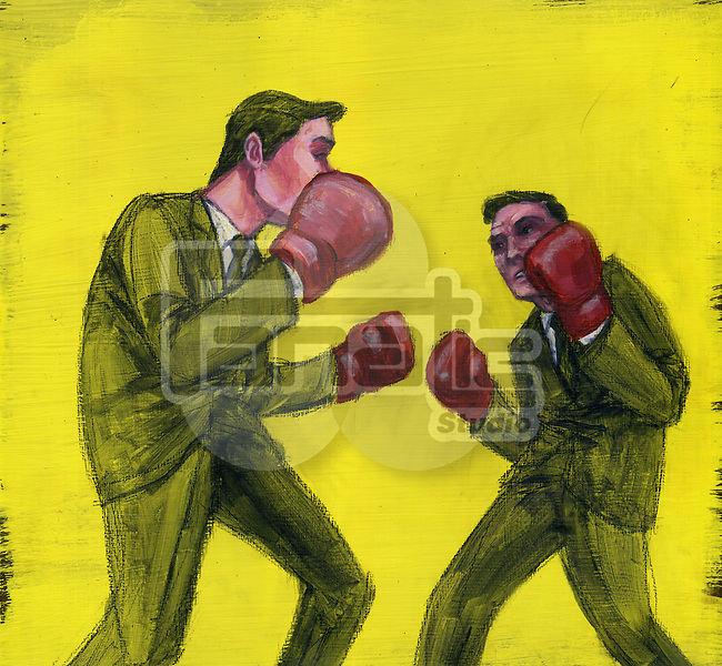 Conceptual image of two businessmen boxing over yellow background