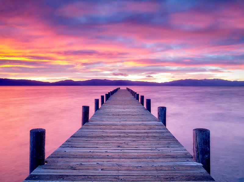 Pier and sunrise. Lake Tahoe, California