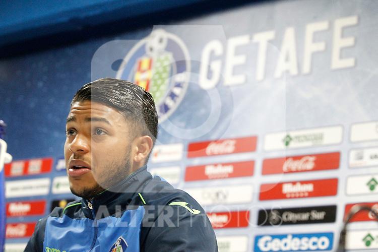 Getafe's Wanderson in press conference after La Liga match. February 27,2016. (ALTERPHOTOS/Acero)