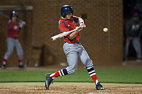 Tommy Derer (27) of the NJIT Highlanders swings at the baseball during game two of a double-header against the High Point Panthers at Williard Stadium on February 18, 2017 in High Point, North Carolina.  The Highlanders defeated the Panthers 4-2.  (Brian Westerholt/Four Seam Images)