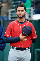 New Hampshire Fisher Cats coach Andy Fermin (2) stands for the national anthem before the first game of a doubleheader against the Harrisburg Senators on May 13, 2018 at FNB Field in Harrisburg, Pennsylvania.  New Hampshire defeated Harrisburg 6-1.  (Mike Janes/Four Seam Images)