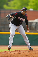 Kannapolis Intimidators starting pitcher Jefferson Olacio (40) in action against the Hickory Crawdads at L.P. Frans Stadium on May 25, 2013 in Hickory, North Carolina.  The Crawdads defeated the Intimidators 14-3.  (Brian Westerholt/Four Seam Images)