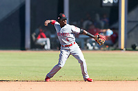 Scottsdale Scorpions second baseman Shed Long (6), of the Cincinnati Reds organization, throws to first base during an Arizona Fall League game against the Peoria Javelinas at Peoria Sports Complex on October 18, 2018 in Peoria, Arizona. Scottsdale defeated Peoria 8-0. (Zachary Lucy/Four Seam Images)