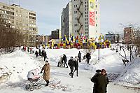 People visit a park in Murmansk, the world's largest Arctic city. /Felix Features