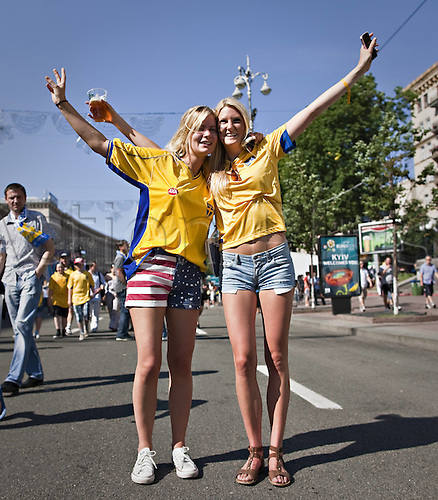 11.06.2012. Kiev Ukraine.  Fanzone Swedish supporters in Kiev for the European 2012 Championship Football Ukraine versus Sweden.