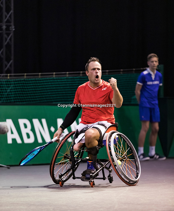 Rotterdam, The Netherlands, 4 march  2021, ABNAMRO World Tennis Tournament, Ahoy, First round wheelchair: Tom Egberink (NED).<br /> Photo: www.tennisimages.com/