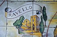 Europe/Italie/Côte Amalfitaine/Campagnie/Ravello : Sol en céramique d'un salon de la Villa Palumbo représentant Ravello