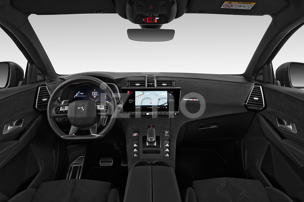 Stock photo of straight dashboard view of 2019 Ds DS-7-Crossback Performance-Line 5 Door SUV Dashboard