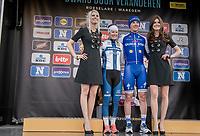 Winners of both the men's & women's race on the podium: Yves Lampaert (BEL/QuickStep Floors) & Lotta Lepistö (FIN/Cervélo-Bigla)<br /> <br /> 72nd Dwars Door Vlaanderen (1.UWT)<br /> 1day race: Roeselare › Waregem BEL (203.4km)
