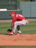 Edgar Gonzalez of the St. Louis Cardinals vs. the Atlanta Braves March 16th, 2007 at Champion Stadium in Orlando, FL during Spring Training action.  Photo By Mike Janes/Four Seam Images