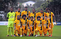 The AS Magenta starting XI before the Oceania Football Championship semifinal (second leg) football match between Team Wellington and AS Magenta at David Farrington Park in Wellington, New Zealand on Sunday, 16 April 2017. Photo: Dave Lintott / lintottphoto.co.nz