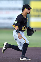 Bristol Pirates shortstop Francisco Acuna (10) fields the ball during game three of the Appalachian League, West Division Playoffs against the Johnson City Cardinals at TVA Credit Union Ballpark on September 1, 2019 in Johnson City, Tennessee. The Cardinals defeated the Pirates 7-5 to win the series 2-1. (Tony Farlow/Four Seam Images)