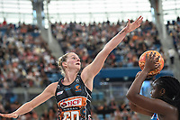 6th June 2021; Ken Rosewall Arena, Sydney, New South Wales, Australia; Australian Suncorp Super Netball, New South Wales, NSW Swifts versus Giants Netball; April Brandley of the Giants Netball attempts to block a shot from Samantha Wallace of NSW Swifts