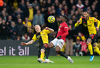 Will Hughes of Watford & Aaron Wan-Bissaka of Man Utd during the Premier League match between Watford and Manchester United at Vicarage Road, Watford, England on 22 December 2019. Photo by Andy Rowland.