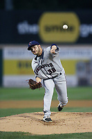 Ty Culbreth (38) of the Lancaster JetHawks pitches against the Rancho Cucamonga Quakes at LoanMart Field on September 9, 2017 in Rancho Cucamonga, California. Lancaster defeated Rancho Cucamonga, 12-7. (Larry Goren/Four Seam Images)