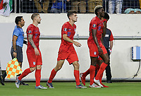 NASHVILLE, TENN - JULY 03: Christian Pulisic #10 scores a goal and celebrates during a 2019 CONCACAF Gold Cup Semifinal match between the United States and Jamaica at Nissan Stadium on July 03, 2019 in Nashville, Tennessee.