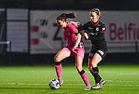 Noemie Fourdin (11) of Sporting Charleroi pictured defending the ball for Geena Lisa Buyle (13) of Zulte-Waregem during a female soccer game between Sporting Charleroi and SV Zulte-Waregem on the 12 th matchday of the 2020 - 2021 season of Belgian Scooore Womens Super League , friday 29 th of January 2021  in Marcinelle , Belgium . PHOTO SPORTPIX.BE | SPP | DAVID CATRY
