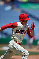 Clearwater Threshers center fielder Mickey Moniak (2) runs to first base during a game against the Jupiter Hammerheads on April 11, 2018 at Spectrum Field in Clearwater, Florida.  Jupiter defeated Clearwater 6-4.  (Mike Janes/Four Seam Images)