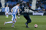 Real Madrid's Vinicius Jr. and CD Leganes's Javier Eraso during  between Real Madrid and CD Leganes at Butarque Stadium in Madrid, Spain. January 16, 2019. (ALTERPHOTOS/A. Perez Meca)