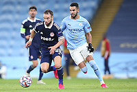 3rd November 2020; City of Manchester Stadium, Manchester, England. UEFA Champions League group stages, Manchester City versus Olympiacos;  Mathieu Valbuena gets away from Riyad Mahrez Manchester City