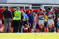 5th June 2021; Mattioli Woods Welford Road Stadium, Leicester, Midlands, England; Gallagher Premiership Rugby, Leicester Tigers versus Bristol Bears; Bristol Bears Director of Rugby Pat Lam protests that he does not have a fit prop to scrum during the final stages of the game