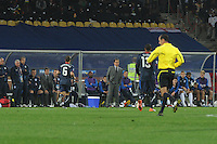 England manager Fabio Capello anquishes during the final seconds of his team's opening match of the 2010 FIFA World Cup. The U.S. and England played to a 1-1 draw in the opening match of Group C play at Rustenburg's Royal Bafokeng Stadium, Saturday, June 12th.