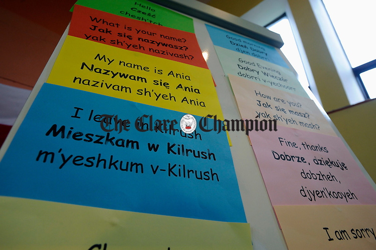 Phrases from the language on display at the Polish Independence Day celebrations at Kilrush Family Resource Centre, organised by the Polish community in the area. Photograph by John Kelly.