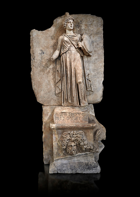 """Roman Sebasteion relief sculpture personifing a Balkan Warrior  Aphrodisias Museum, Aphrodisias, Turkey.  Against a black background.<br /> <br /> The relief figure personifies a Balkan Warrior tribe defeated by Tiberius in AD 6-8 before he became emperor. She wears a classical dress, cloak and helmet and carries a small shield and probably once a spear. A builder's inscription, """"Pirouston"""", written above the shield, ensured the relief was put on the right base"""