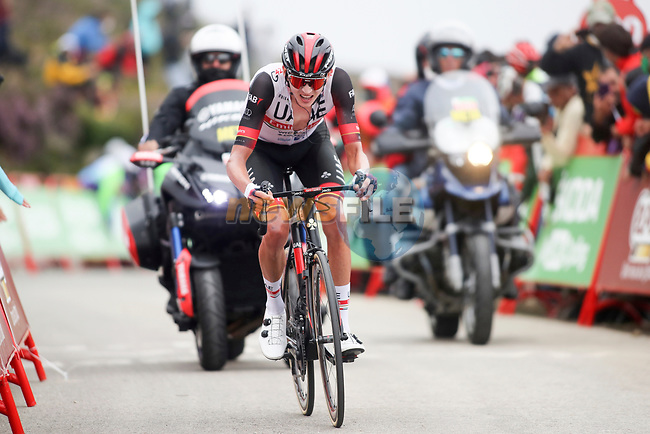 Joe Dombrowski (USA) UAE Team Emirates approaches the finish line of Stage 3 of La Vuelta d'Espana 2021, running 202.8km from Santo Domingo de Silos to Picon Blanco, Spain. 16th August 2021.    <br /> Picture: Luis Angel Gomez/Photogomezsport   Cyclefile<br /> <br /> All photos usage must carry mandatory copyright credit (© Cyclefile   Luis Angel Gomez/Photogomezsport)