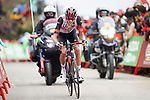 Joe Dombrowski (USA) UAE Team Emirates approaches the finish line of Stage 3 of La Vuelta d'Espana 2021, running 202.8km from Santo Domingo de Silos to Picon Blanco, Spain. 16th August 2021.    <br /> Picture: Luis Angel Gomez/Photogomezsport | Cyclefile<br /> <br /> All photos usage must carry mandatory copyright credit (© Cyclefile | Luis Angel Gomez/Photogomezsport)