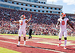 Clemson wide receiver Amari Rpgers celebrates his 68 yard reception and run for a touchdown in the second half of an NCAA college football game against Florida State in Tallahassee, Fla., Saturday, Oct.27, 2018. Clemson defeated Florida State 59-10.  (AP Photo/Mark Wallheiser)