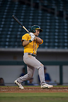 AZL Athletics left fielder Chase Calabuig (28) at bat during an Arizona League game against the AZL Cubs 1 at Sloan Park on June 28, 2018 in Mesa, Arizona. The AZL Athletics defeated the AZL Cubs 1 5-4. (Zachary Lucy/Four Seam Images)