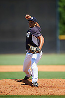 GCL Yankees East relief pitcher Allen Valerio (70) during a game against the GCL Yankees West on August 3, 2016 at the Yankees Complex in Tampa, Florida.  GCL Yankees East defeated GCL Yankees West 12-2.  (Mike Janes/Four Seam Images)