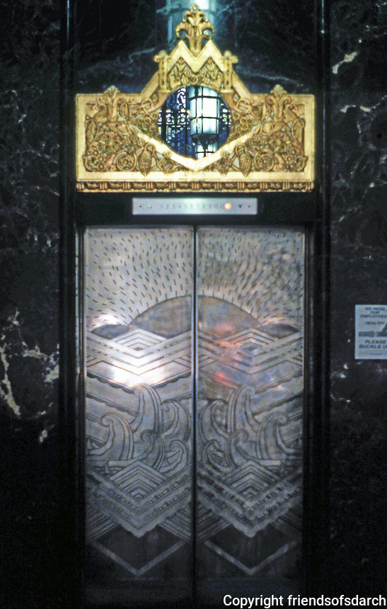 Los Angeles: Garfield Building--Lobby, Elevator 1928-30. Claude Beelman. Dark marble, German silver, Gold Leaf. Photo '89.