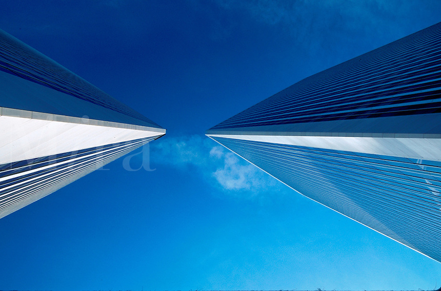 Abstract,view of the exterior of the Century Plaza Towers office building and sky. Century City, Los Angeles, California.
