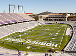TCU's new stadium is ready for the game between the Grambling State Tigers and the TCU Horned Frogs  at the Amon G. Carter Stadium in Fort Worth, Texas, celebrating TCU's victory and Head Coach, Gary Pattersons, 110 game wins. TCU defeats Grambling State 59 to 0.