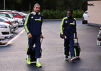 Wednesday 18 September 2013<br /> Pictured L-R: Chico Flores and Nathan Dyer about to board the team coach in Swansea. <br /> Re: Swansea City FC players and staff travelling to Spain for their UEFA Europa League game against Valencia.