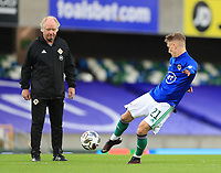 7th September 2020; Windsor Park, Belfast, County Antrim, Northern Ireland; EUFA Nations League, Group B, Northern Ireland versus Norway; Ethan Galbraith warms up for Northern Ireland in an empty stadium due to pandemic