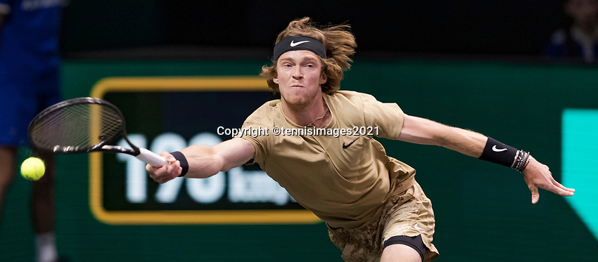 Rotterdam, The Netherlands, 6 march  2021, ABNAMRO World Tennis Tournament, Ahoy,  <br /> Semi final: Andrey Rublev (RUS). Photo: www.tennisimages.com/henkkoster