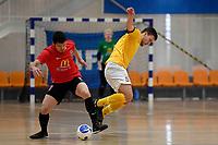Dominic McCann of Capital and Daniel Ribeiro De Abreu Can of Canterbury during the Men's Futsal SuperLeague, Canterbury United Futsal Dragons v Capital Futsal at ASB Sports Centre, Wellington on Saturday 31 October 2020.<br /> Copyright photo: Masanori Udagawa /  www.photosp ort.nz